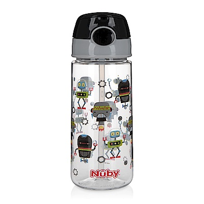 Nuby 晶透運動水杯(細吸管)532ml_黑灰機器人(18M+)