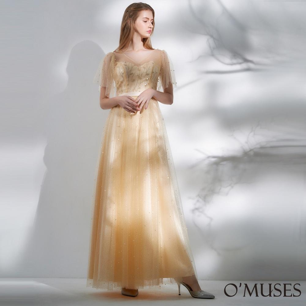 OMUSES 重工V領蕾絲刺繡亮片金蔥網紗長禮服
