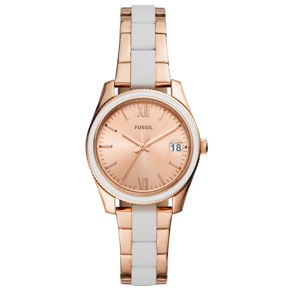 FOSSIL Scarlette 優雅金采雙色手錶(FS4589)-玫瑰金/32mm