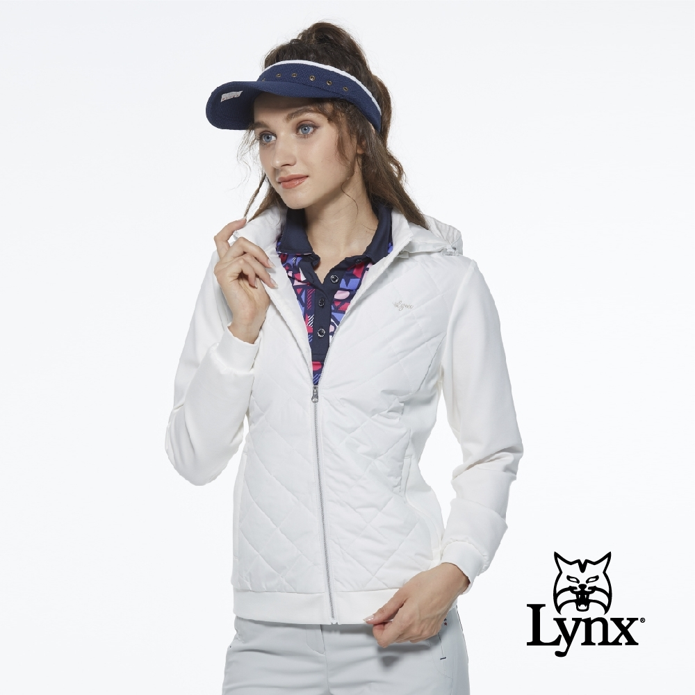 【Lynx Golf】女款防水鋪棉菱格紋羅馬布拼接可拆式連帽長袖外套-牙白色