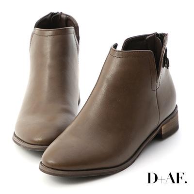 D+AF 經典自信.側V口後拉鍊低跟短靴*棕