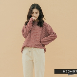H:CONNECT 韓國品牌 女裝-條紋落肩上衣 - 紅(快)