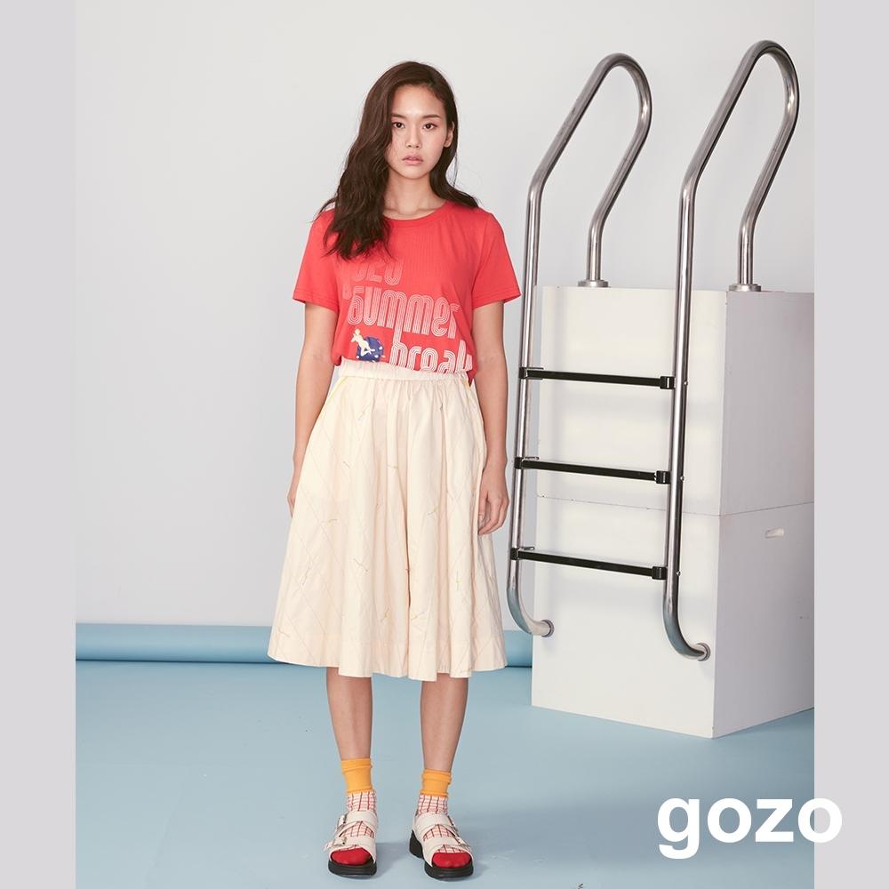gozo 漸層字母印花人物繡線上衣(紅色)