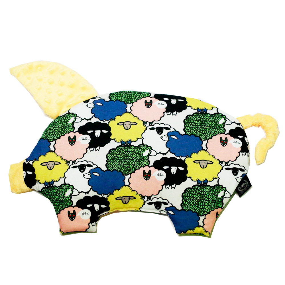 La Millou 豆豆小豬枕嬰兒枕-朵朵綿羊糖(清恬芒果黃)