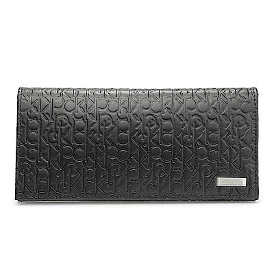 Calvin Klein 經典壓紋鐵牌LOGO長夾-黑色