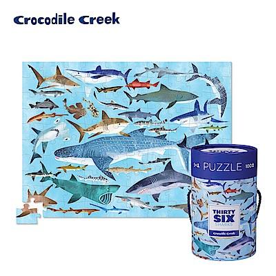美國Crocodile Creek 生物主題學習桶裝拼圖-鯊魚世界