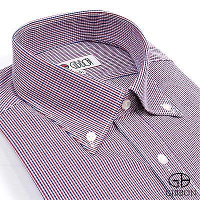 GIBBON 英倫風細格紋長袖襯衫‧紅藍格