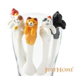 Just Home貓樂園可掛式陶瓷杯緣子咖啡匙4件組 超人氣立體貓咪造型咖啡匙