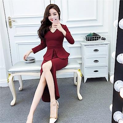 DABI 韓系氣質V領修身包臀裙緊身開叉長袖洋裝