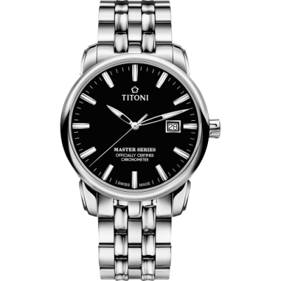 TITONI 梅花錶 大師系列天文台認證機械錶(83188 S-577)-黑x銀/41mm