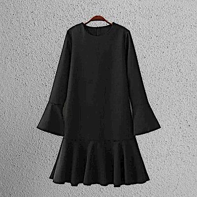 KT 純色喇叭荷葉邊袖連衣裙-黑