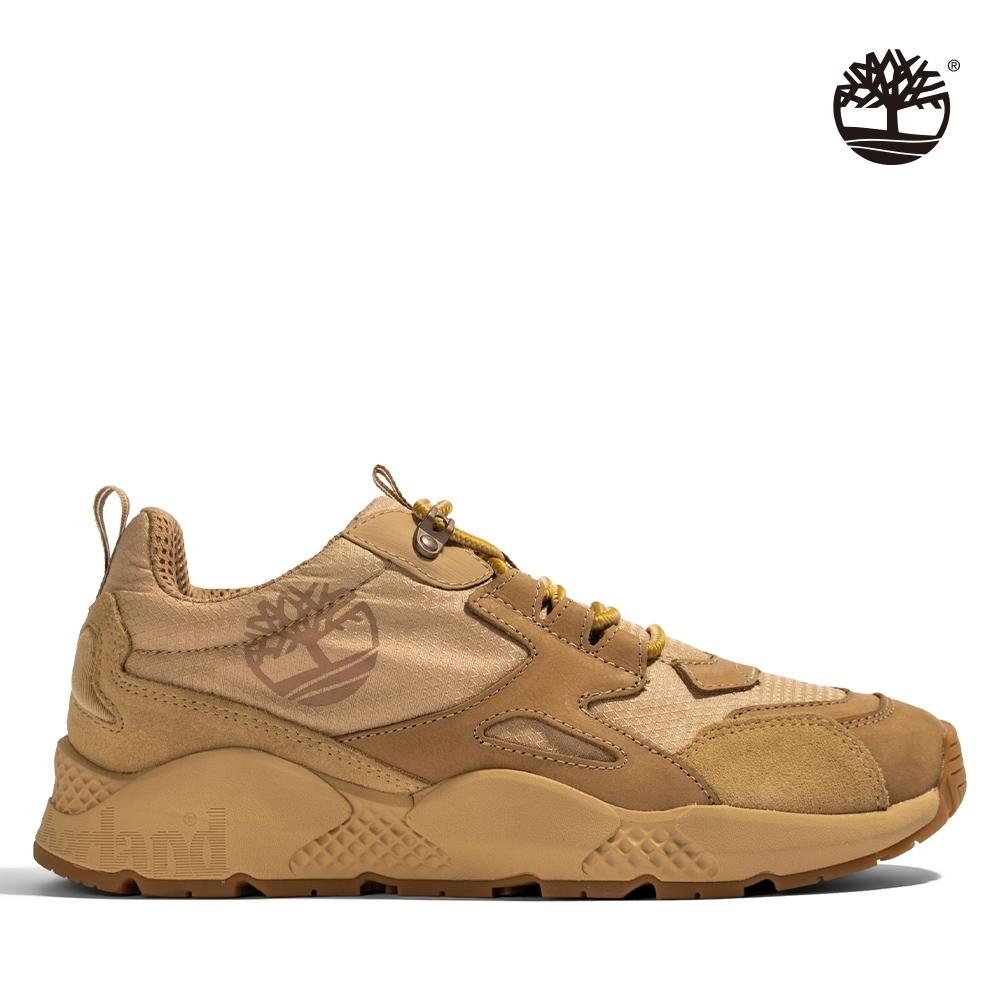 Timberland 男款米色絨面革拼接運動鞋|A2QNT