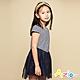 Azio Kids 女童 洋裝 蝴蝶結貼鑽橫條紋網紗短袖洋裝(藍) product thumbnail 1
