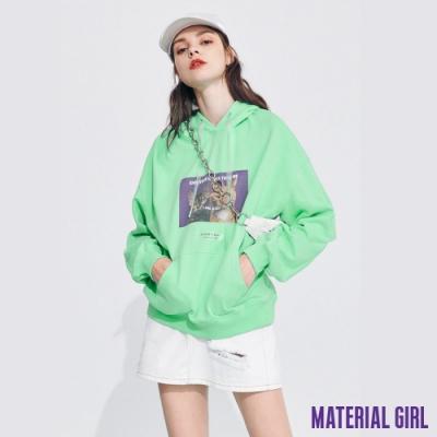 MATERIAL GIRL 湖水綠色貓咪印花系列連帽上衣【20春季款】-A142045