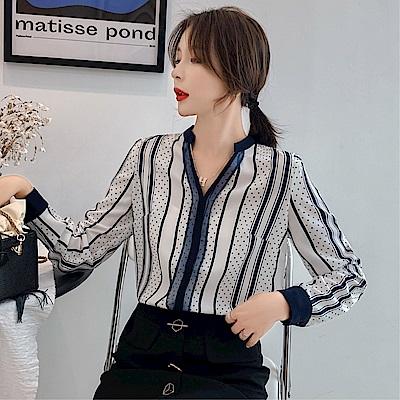 DABI 韓國風條紋設計感波點襯衫雪紡長袖上衣