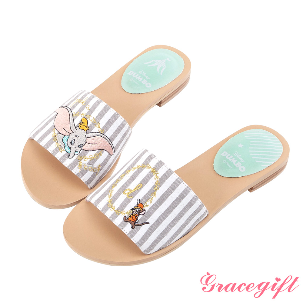 Disney collection by grace gift寬版電繡休閒拖鞋 灰條