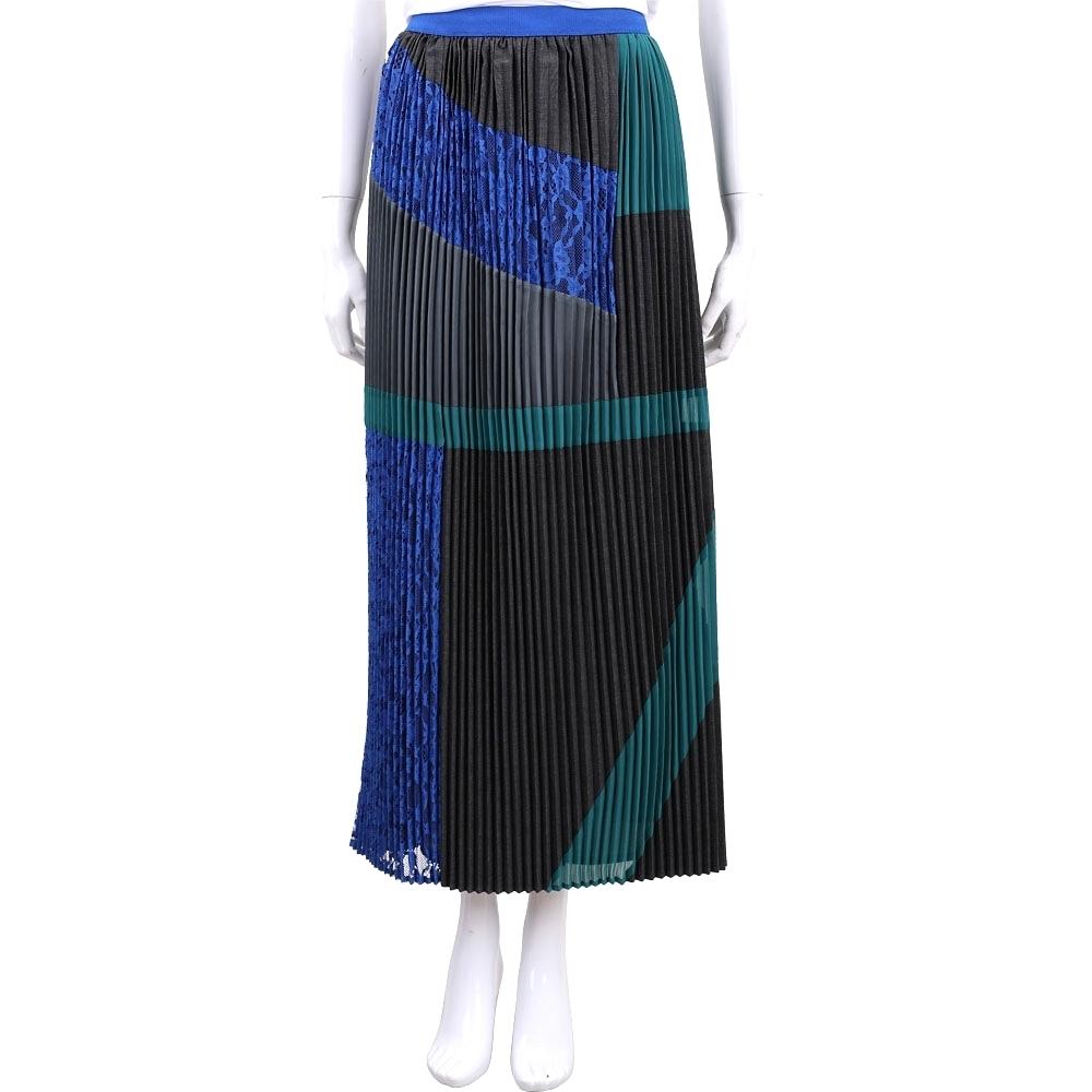 Max Mara-WEEKEND 多色塊蕾絲拼接細百摺長裙