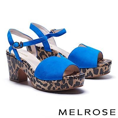 涼鞋 MELROSE 狂野潮流繫帶造型羊麂皮高跟涼鞋-藍