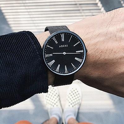 ADEXE 英國時尚手錶 Sistine羅馬刻度系列 黑錶盤x黑錶框米蘭錶帶42mm