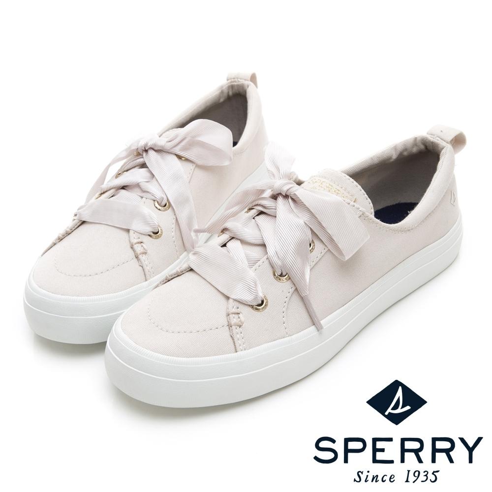 SPERRY 經典粉彩系緞帶帆布鞋(女)-象牙白