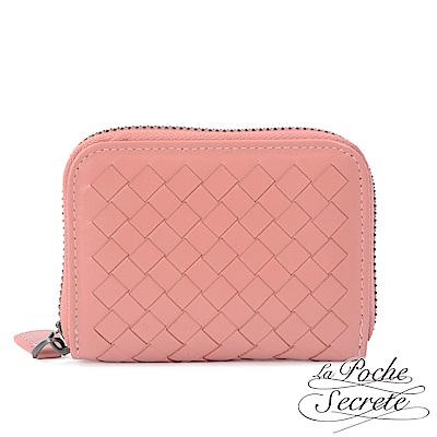 La Poche Secrete 編織小羊皮拉鍊卡夾包-甜美粉