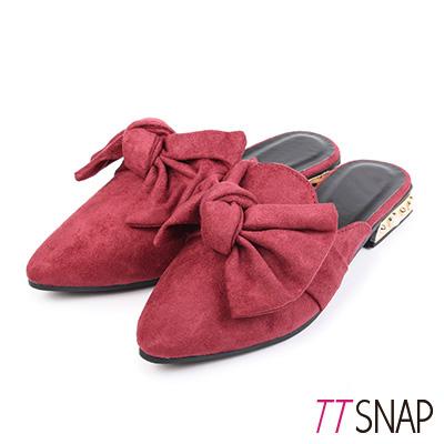 TTSNAP尖頭鞋-細緻絨面大蝴蝶結平底穆勒鞋 紅