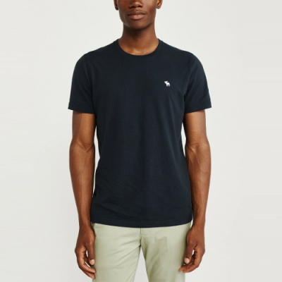 麋鹿 AF A&F 經典圓領電繡麋鹿素面純棉短袖T恤(BONL)-黑色