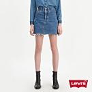 Levis 女款 高腰排釦牛仔裙 下擺不收邊