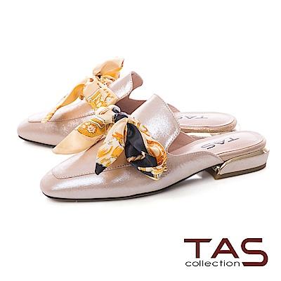 TAS 印花蝴蝶結穆勒鞋-閃耀金