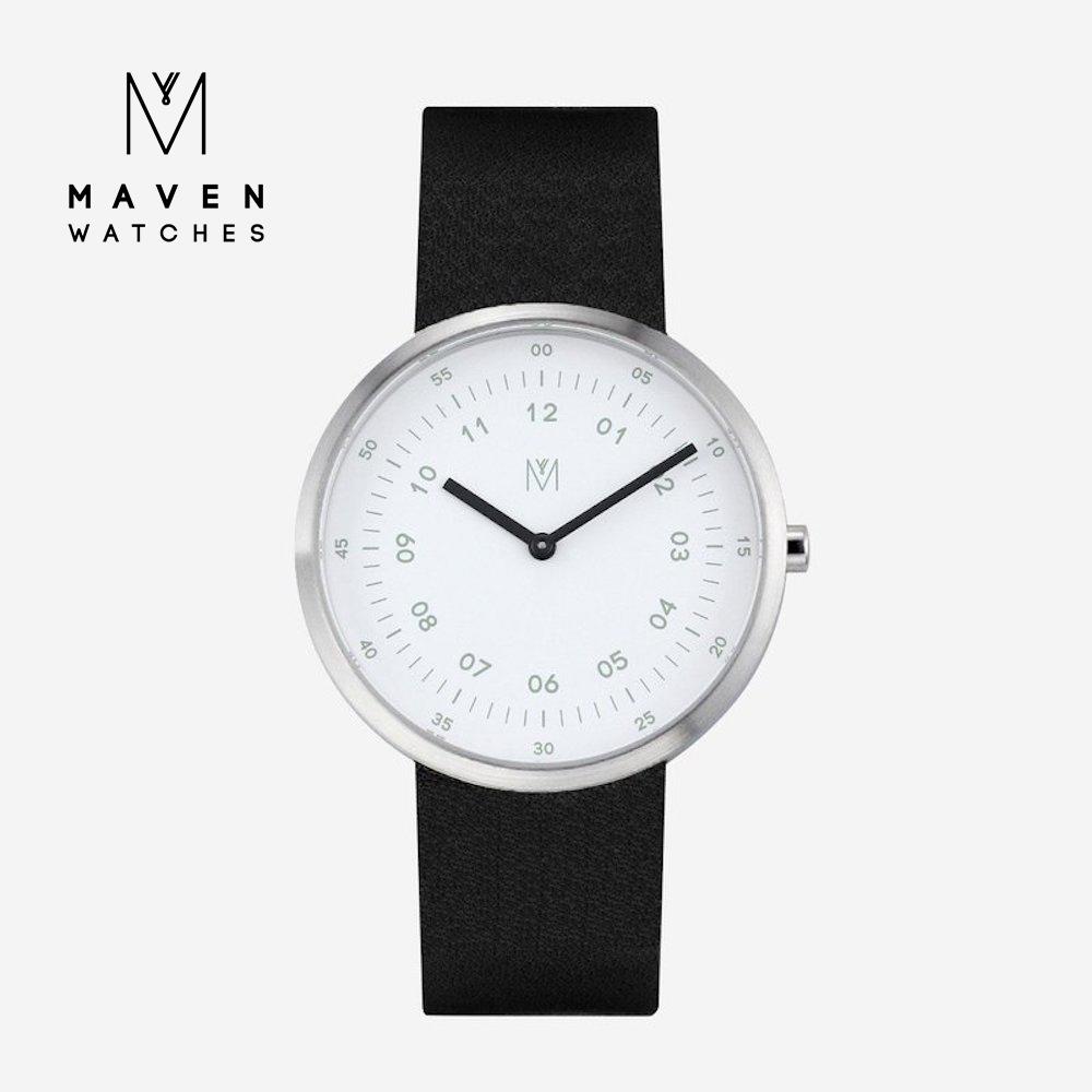 MAVEN WATCHES 匠藝錶款40mm (霧黑框白錶面/黑皮革) @ Y!購物