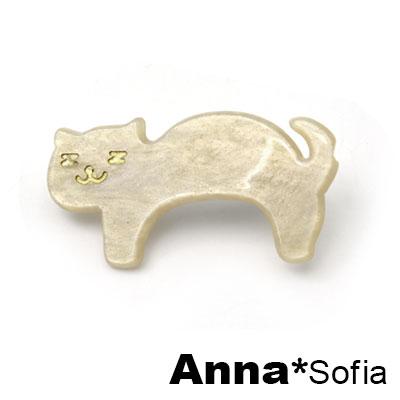 AnnaSofia 日系Z眼貓星點雲紋 純手工小髮夾(米黃系)