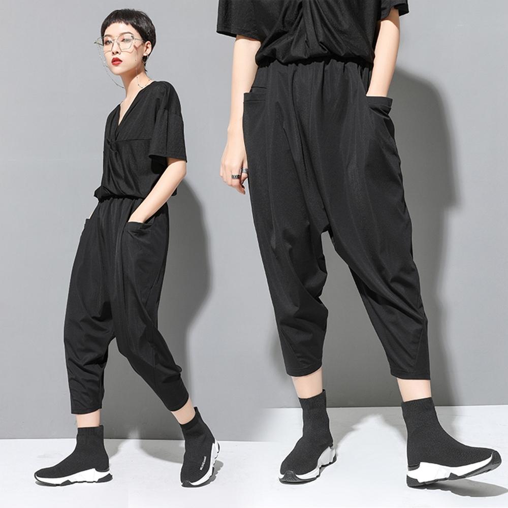 個性鬆緊腰三口袋寬鬆縮口哈倫褲M-2XL-CLORI