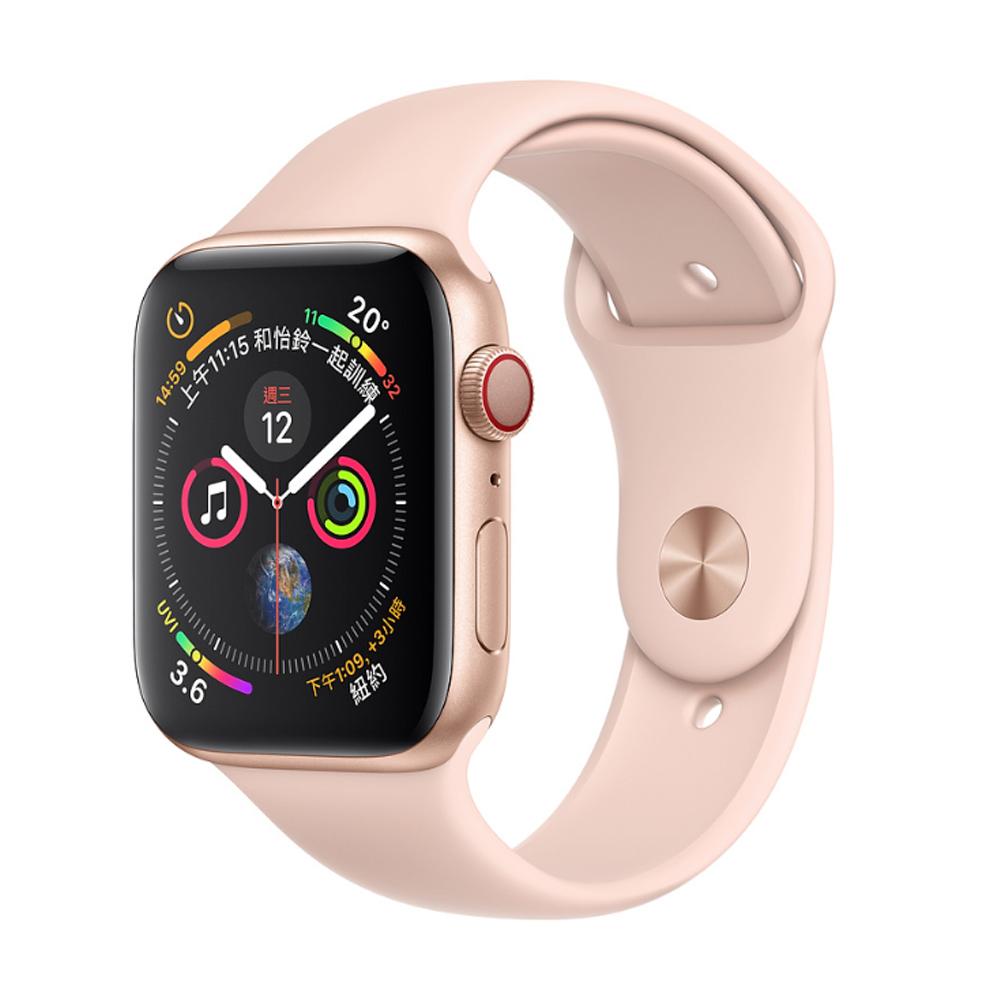 Apple Watch S4 GPS+網路 44mm 金色鋁金屬錶殼搭粉沙色運動錶帶