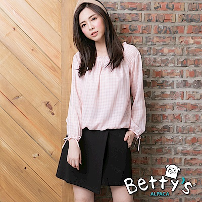 betty's貝蒂思 腰間半鬆緊環釦褲裙(黑色)