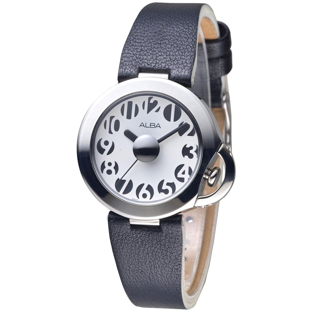 ALBA雅柏手錶 個性刻度時尚女錶-白面(AH8125X1)/36mm 保固二年