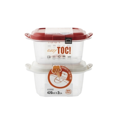 樂扣樂扣 EZ TOC微波PP保鮮盒/蒸氣孔/420ML/2件組(上蓋:紅+米白)(快)