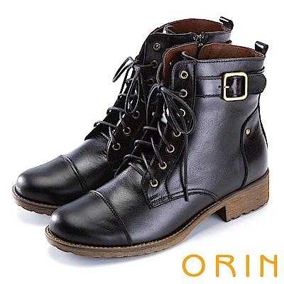 ORIN 中性街頭帥氣 質感牛皮綁帶短靴-黑色