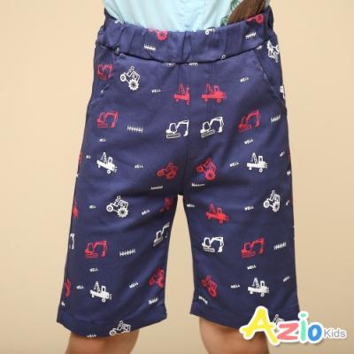 Azio Kids 男童 短褲 滿版紅白工程車休閒短褲(藍)