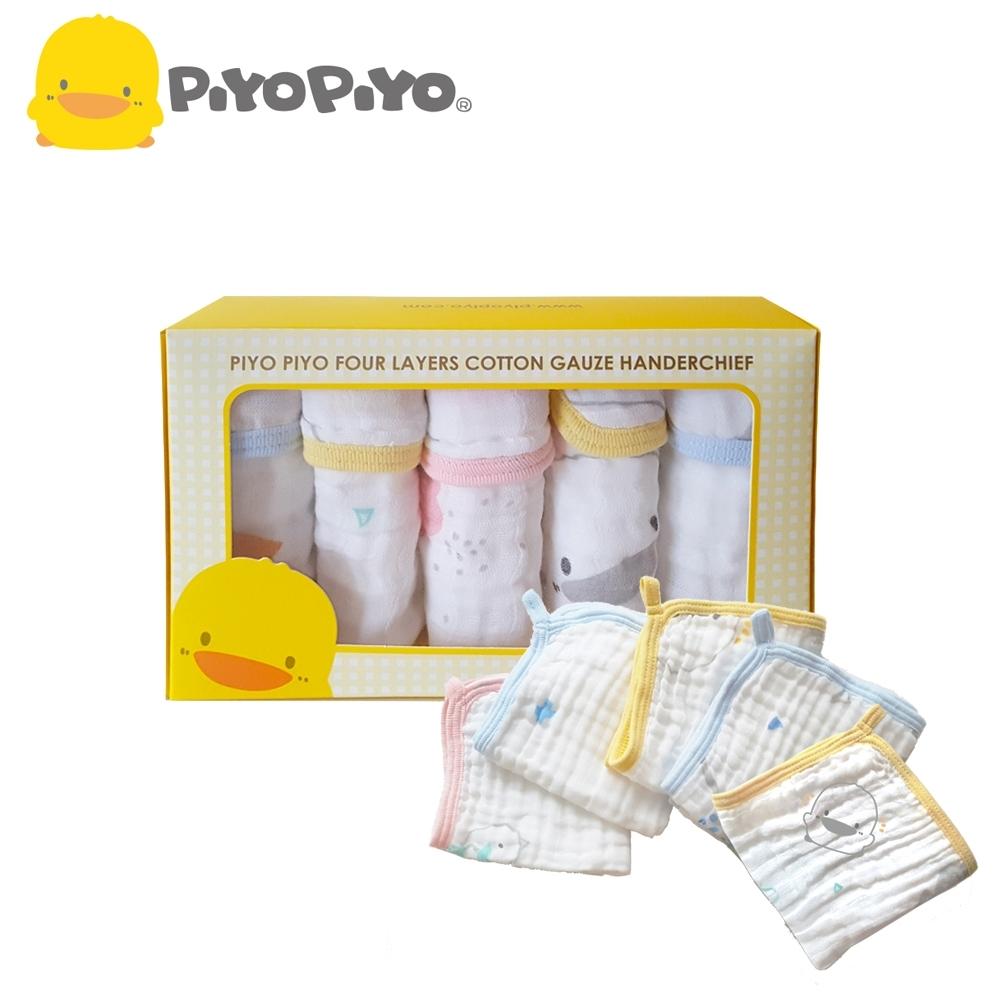 黃色小鴨《PiyoPiyo》四層紗 布印花口水巾禮盒