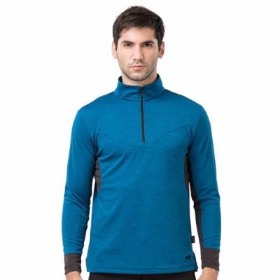 PolarStar 男 麻花吸排立領長袖衣『藍綠』P19251