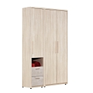 文創集 杜蜜拉 現代4.1尺四抽雙吊衣櫃/收納櫃組合-122.2x60x200cm免組