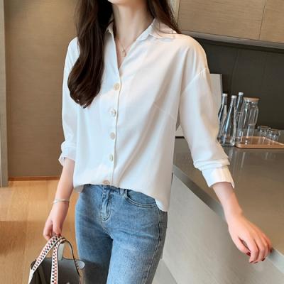 初色  V領雪紡襯衫-白色-(M-2XL可選)