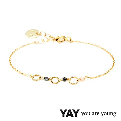 YAY You Are Young Black Swan 珍珠X寶石手鍊 金色同心圓設計
