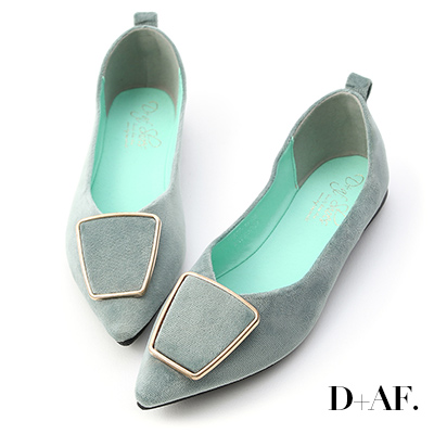D+AF 都會風采.幾何釦飾尖頭平底鞋*綠