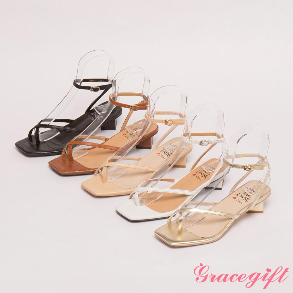 [0701妞妞新品準時開賣]Grace gift X Kerina-聯名不對稱條帶低跟涼鞋