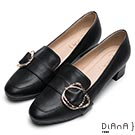 DIANA 復古知性-皮帶飾釦真皮低跟樂福鞋-黑