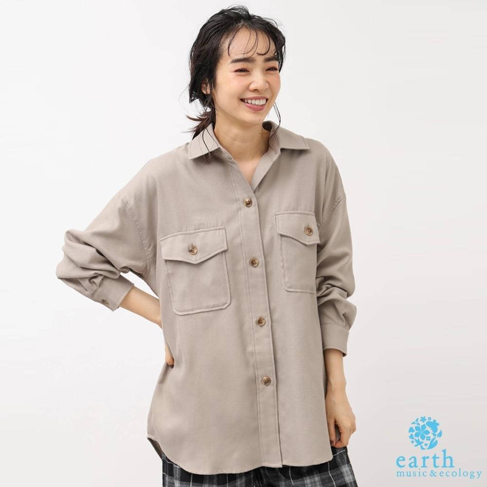earth music 前短後長工作風口袋設計襯衫