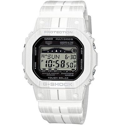 CASIO卡西歐G-SHOCK太陽能木紋衝浪運動錶(GWX-5600WA-7)-白