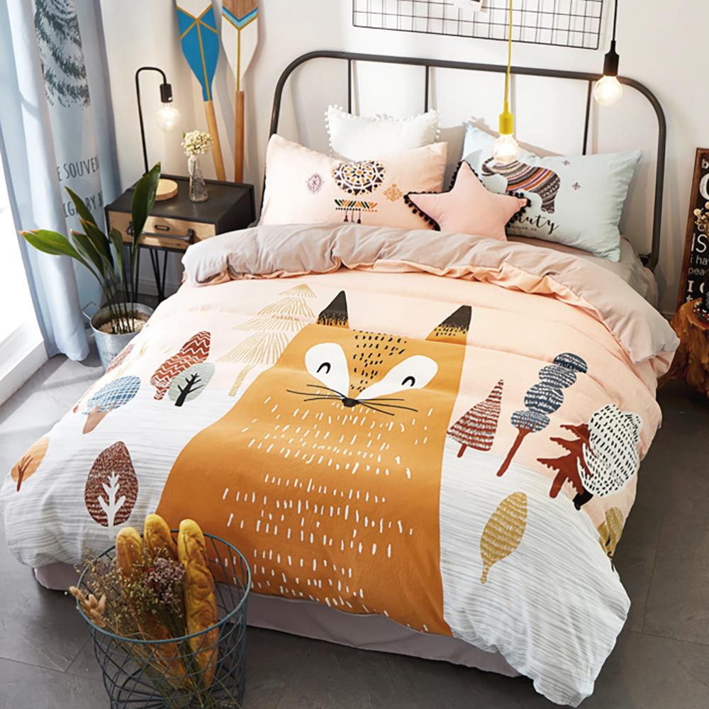 BUNNY LIFE 微笑狐狸-加大-森林系舒柔水洗床包被套組
