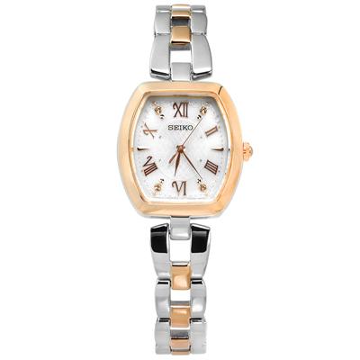 SEIKO 太陽能電波施華洛世奇晶鑽日本機芯不鏽鋼手錶-銀x鍍玫瑰金/25mm